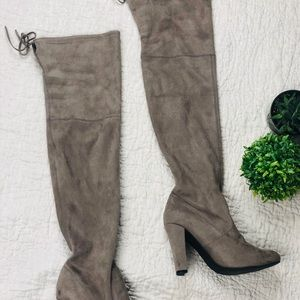 STEVE MADDEN TAUPE SUEDE OVER THE KNEE BOOTS